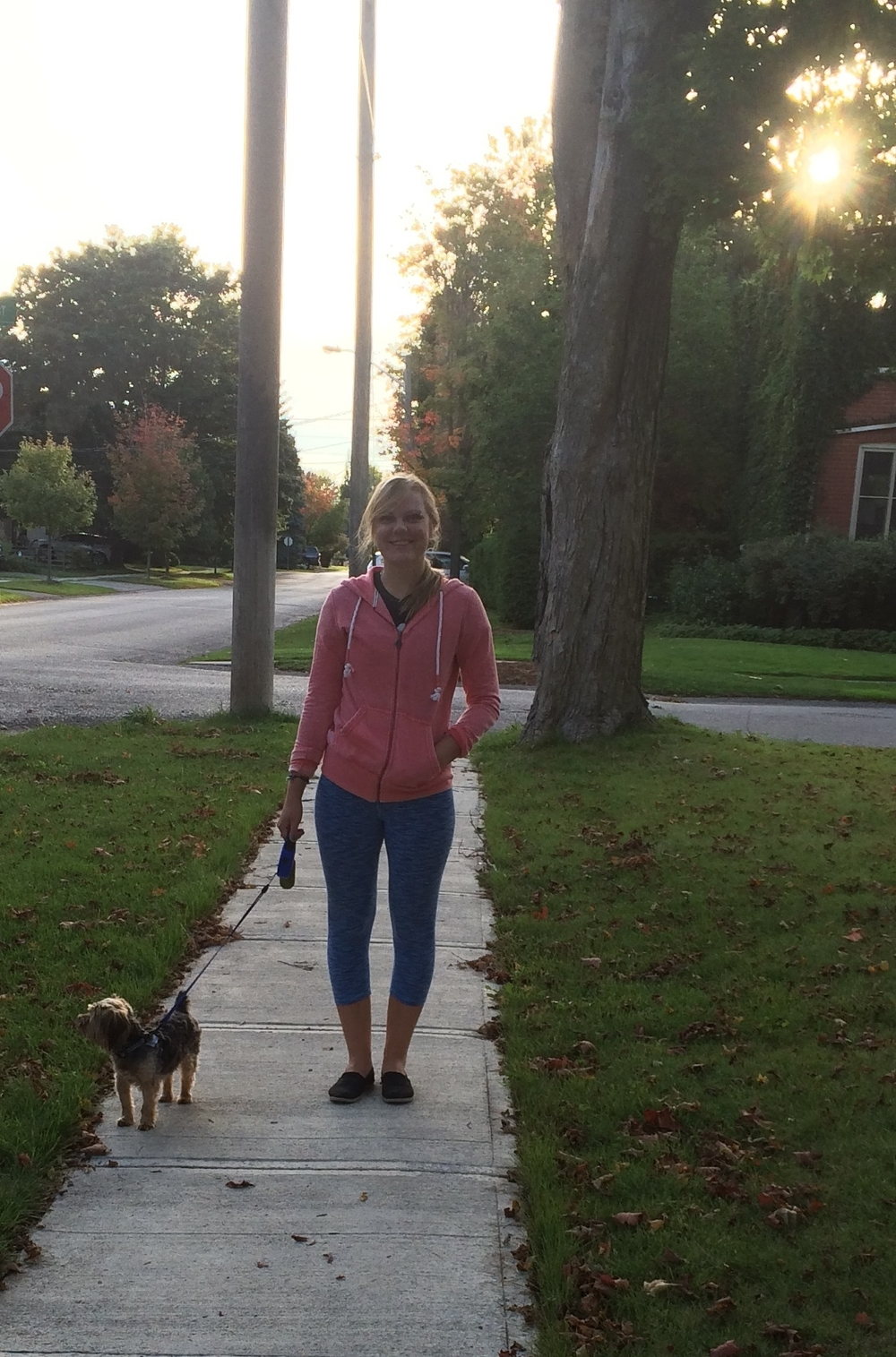 Natalia and Arnie join the walk in Stouffville, ON