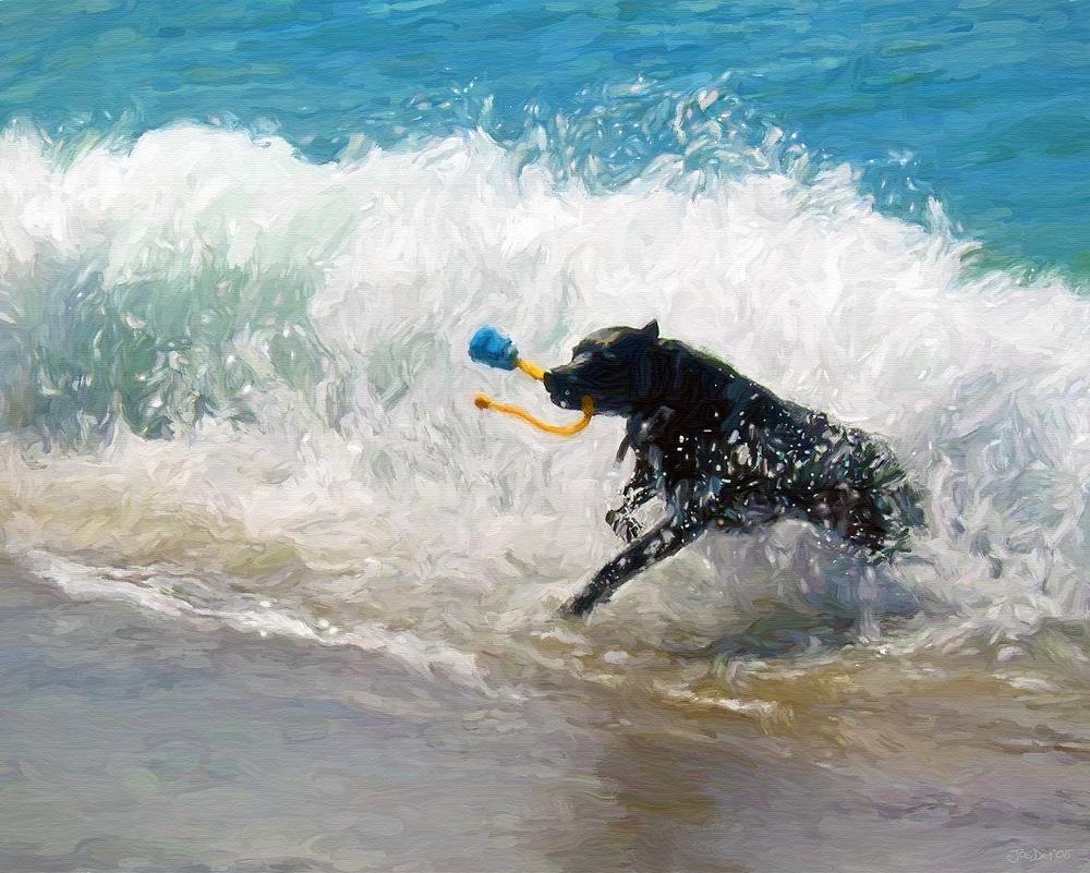 Labrador Retriever Dog Oil Painting