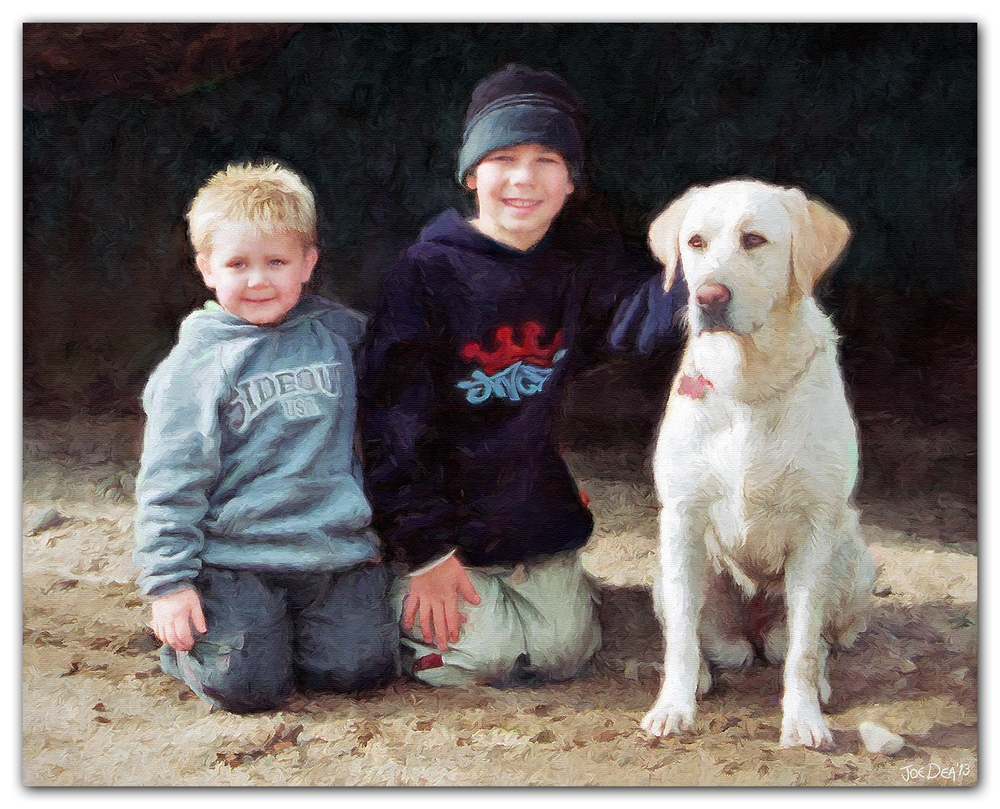 boys and golden retriever oil painting