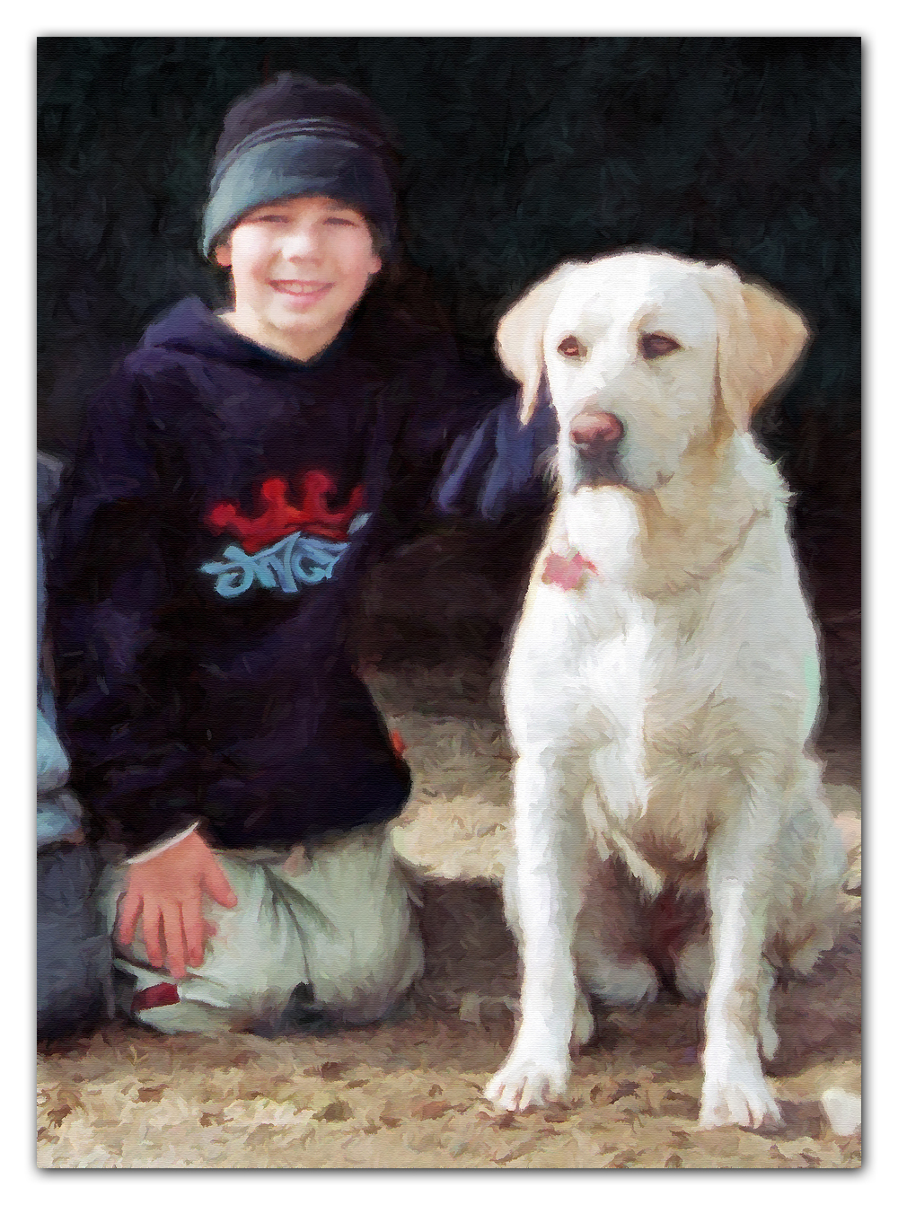boy & golden retriever painting