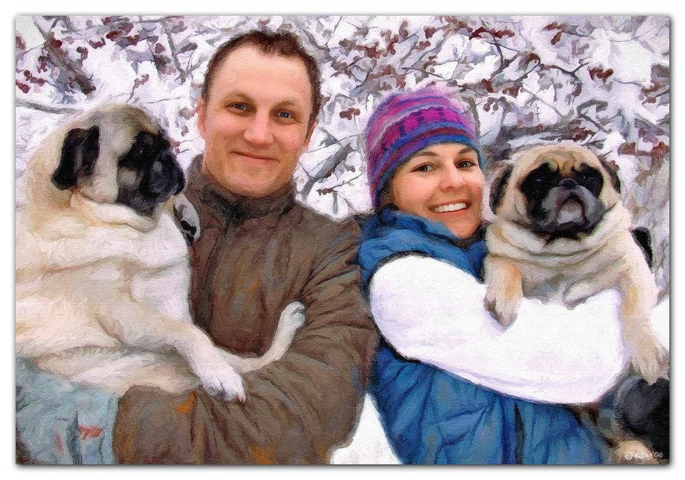 Pug family portrait painting
