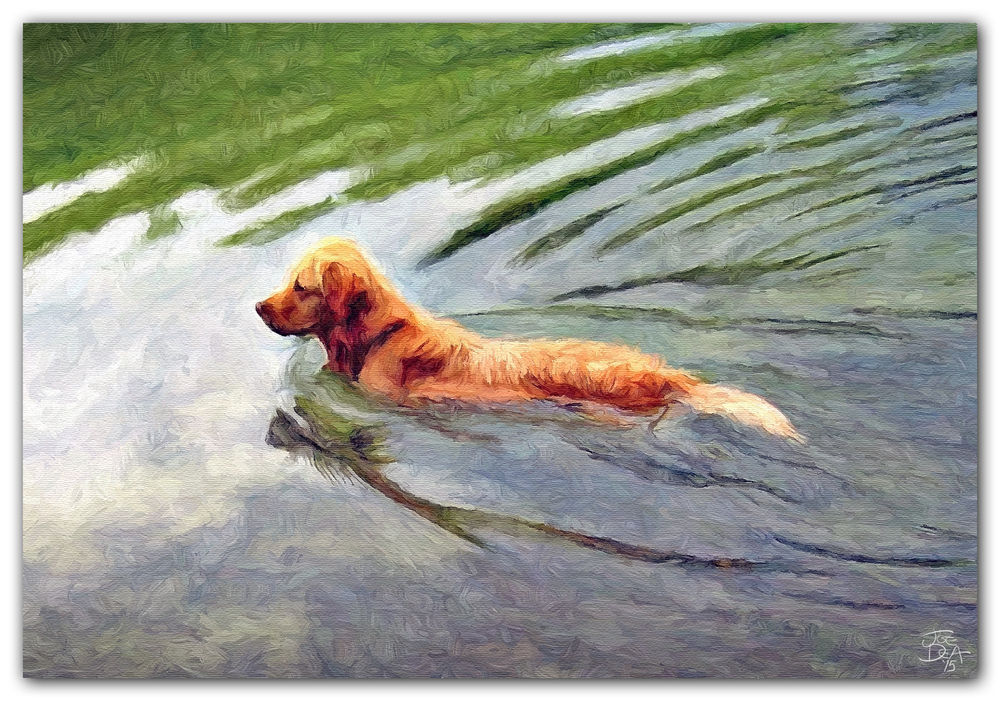 GOLDEN RETRIEVER GUN DOG PAINTING