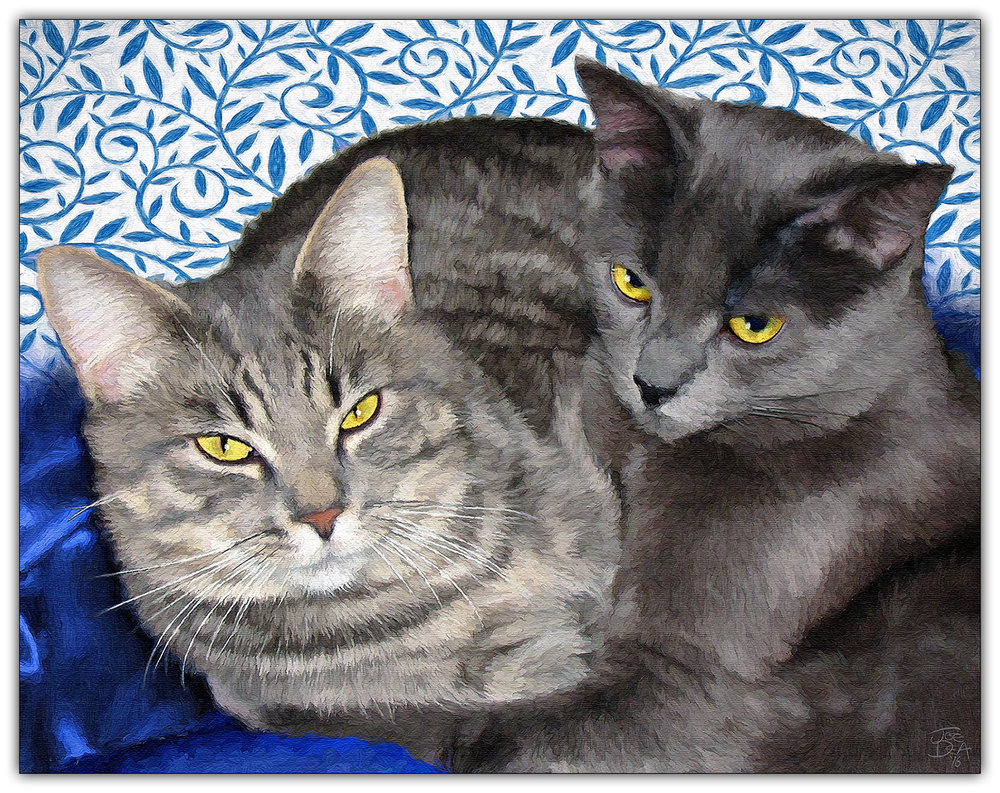 Two Grey Cats Painting