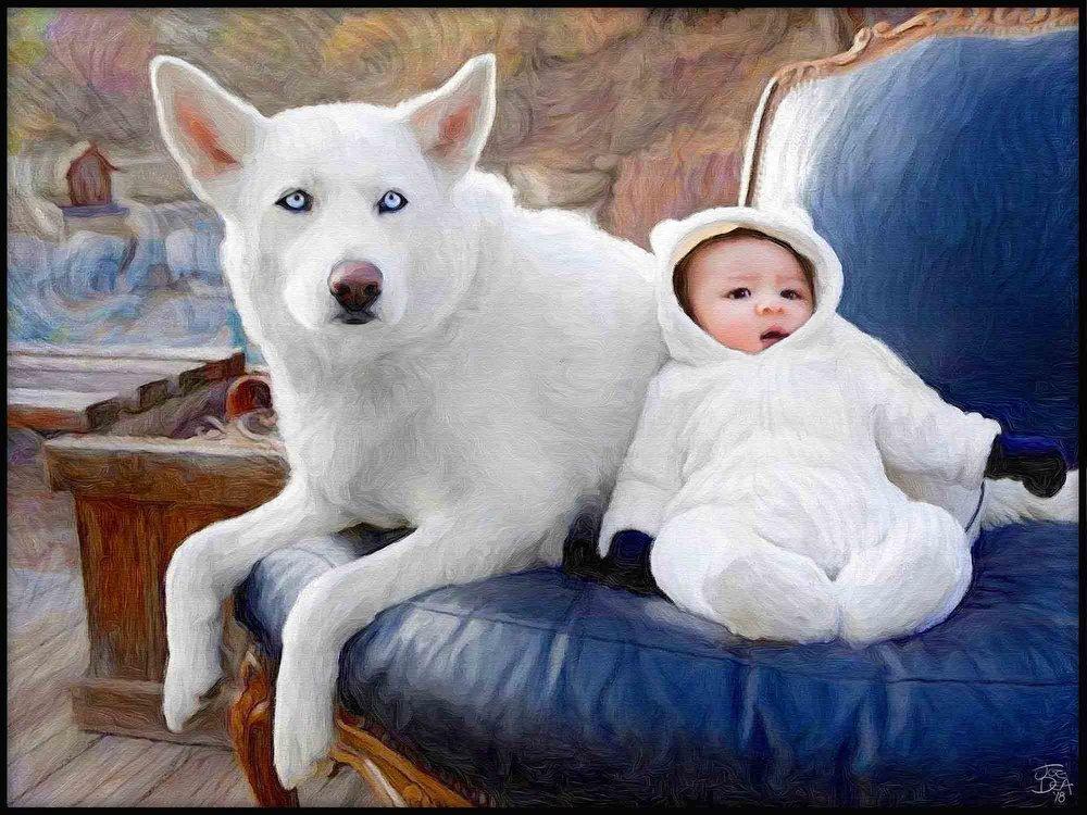 Dog Baby Portrait Painting