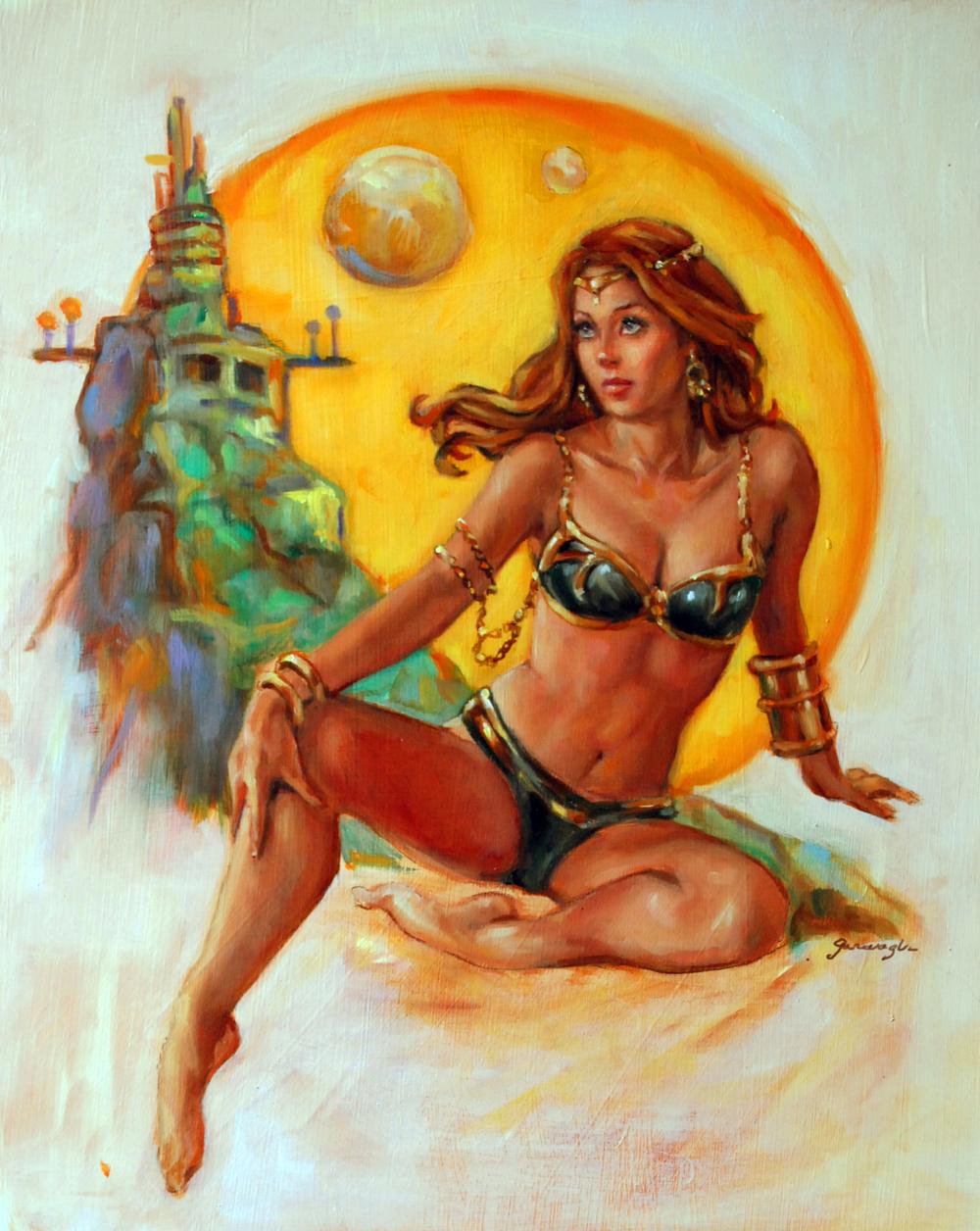oil on Masonite. Princess of Mars