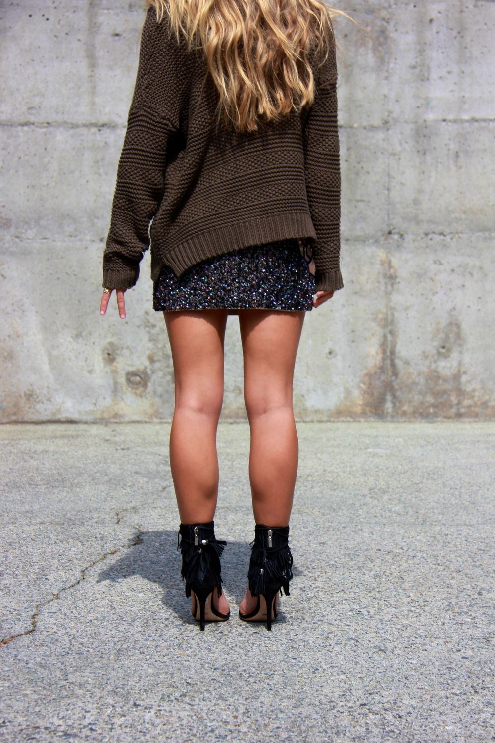 Wearing:   F21     Sweater  , All Saints Skirt,   Elizabeth and James     Bag  ,   Schutz     Heels
