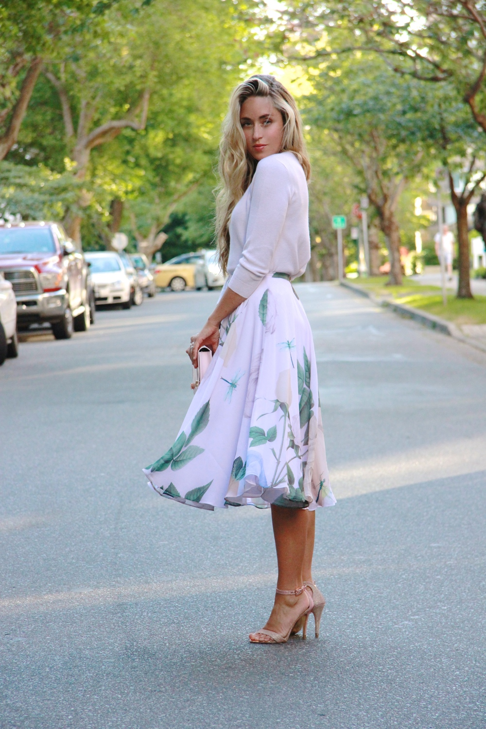 Ted Baker   Sweater ,  Skirt,   Clutch  &  Heels
