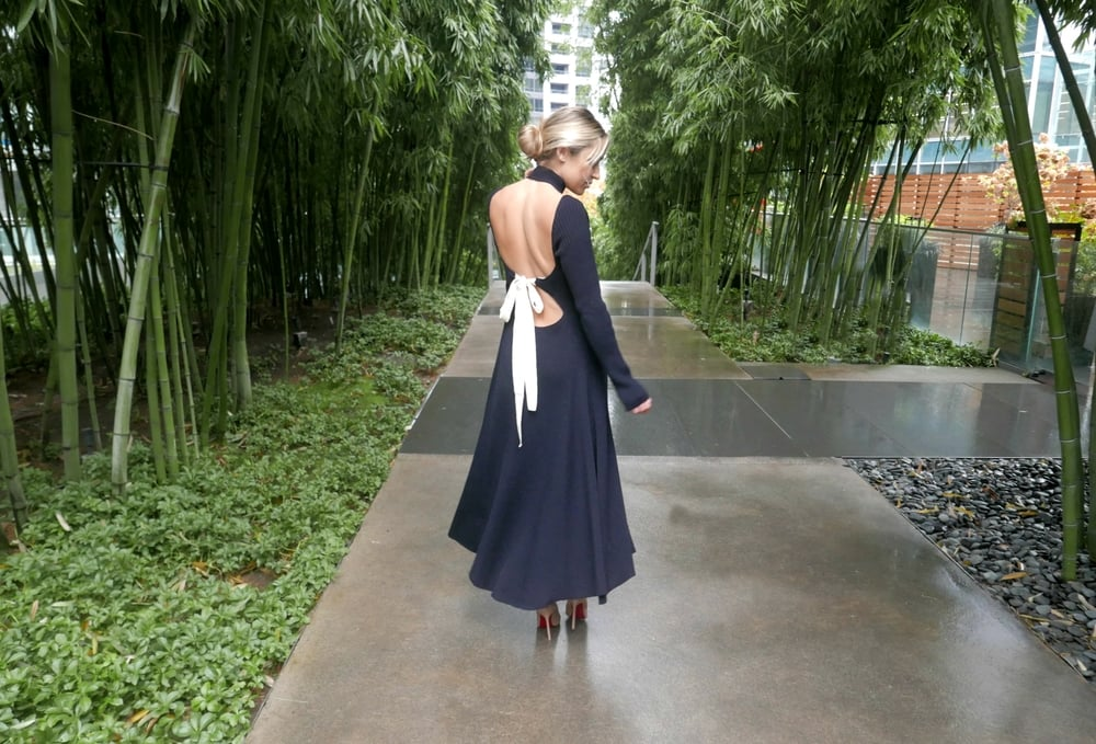 Célne Dress & Saint Laurent Clutch via Nordstrom, Christian Louboutin Heels
