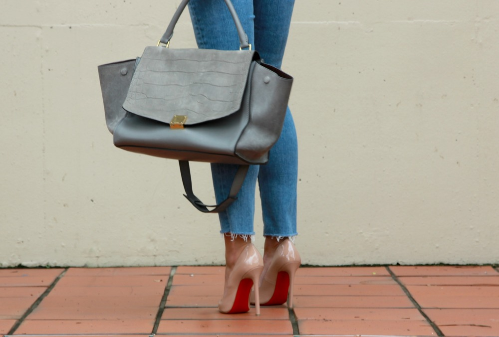 Céline Bag via The Real Real Wish Top, Paige Denim, Christian Louboutin Pumps