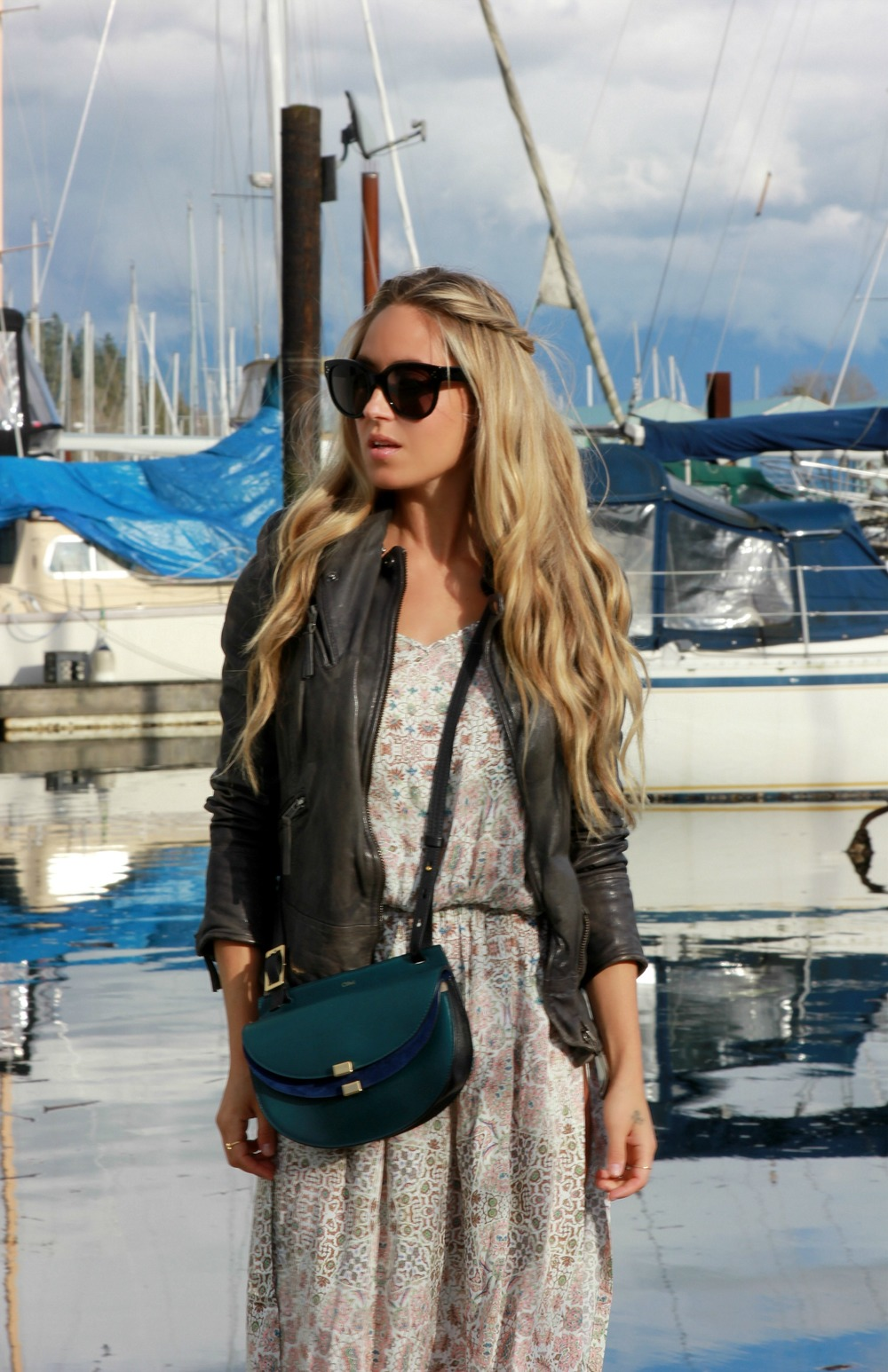 Chloé Bag via Love That Bag Muubaa Jacket, Auguste The Label Dress, Céline Sunglasses, Isabel Marant Boots