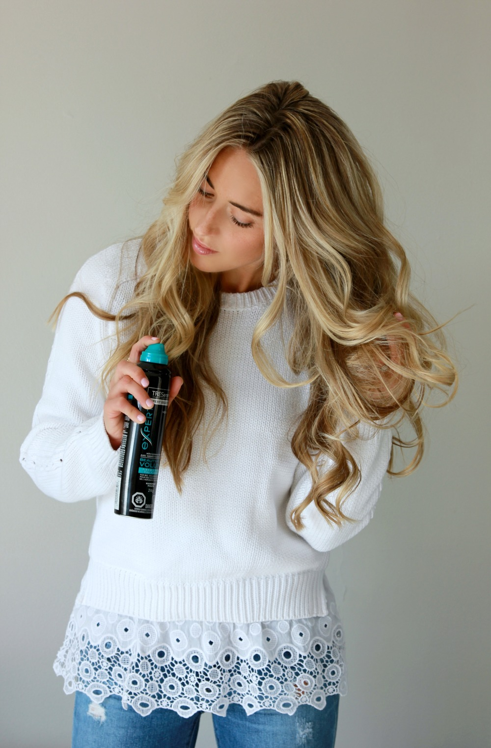 New TRESemmé Beauty Full-Volume Reverse Wash System: Condition First, Shampoo Second.;Styling Products Mousse & Hairspray Colour done by Sarah Braim of The House of Blonde, Hair Curled with XO Styling Iron