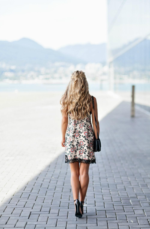 Photography by Allison Kuhl Express Dress, Bralette & Sweater Stuart Weitzman Heels, Céline Bag