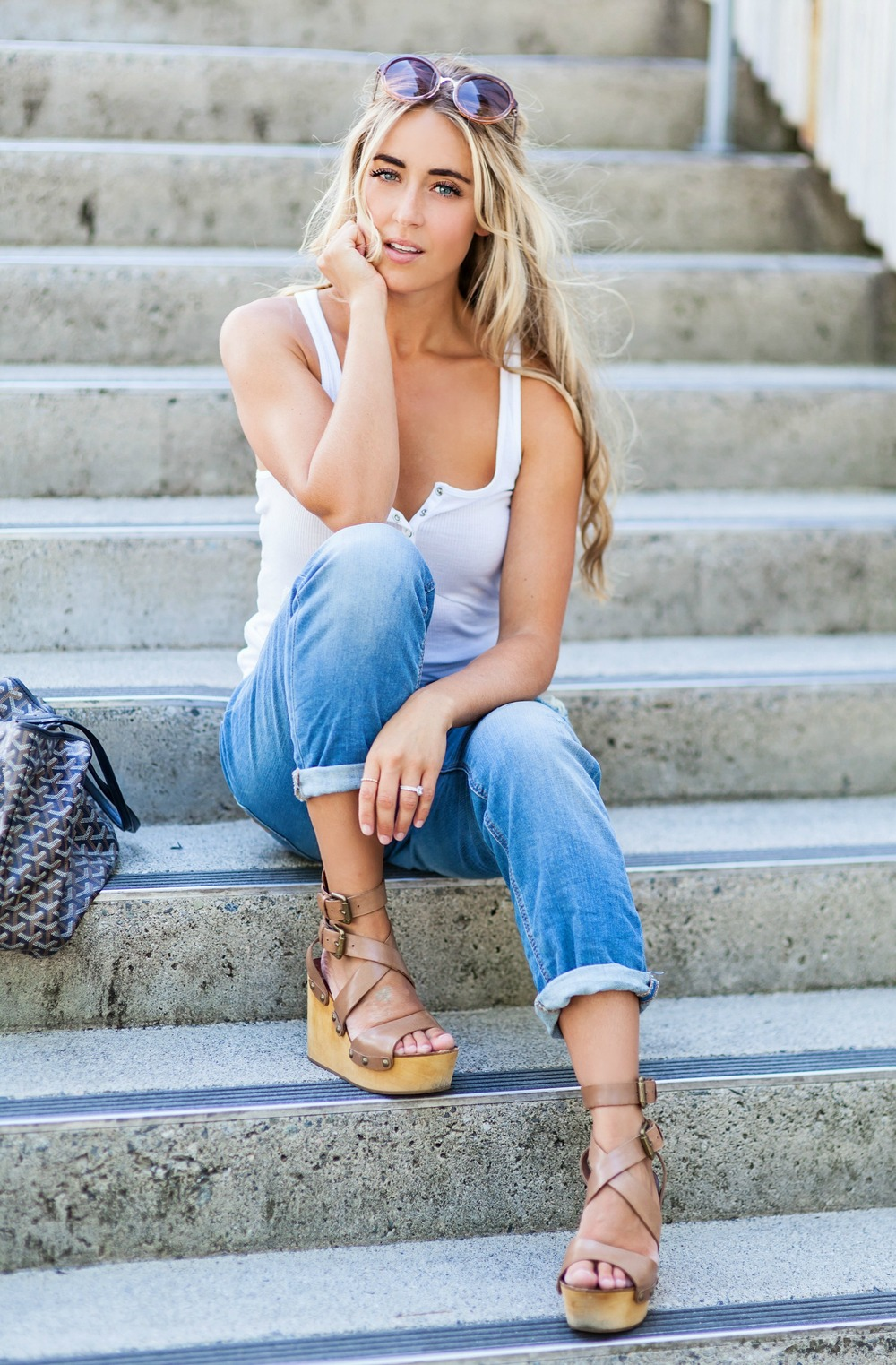 Photography by Allison Kuhl Express Top, Denim, Sunglasses