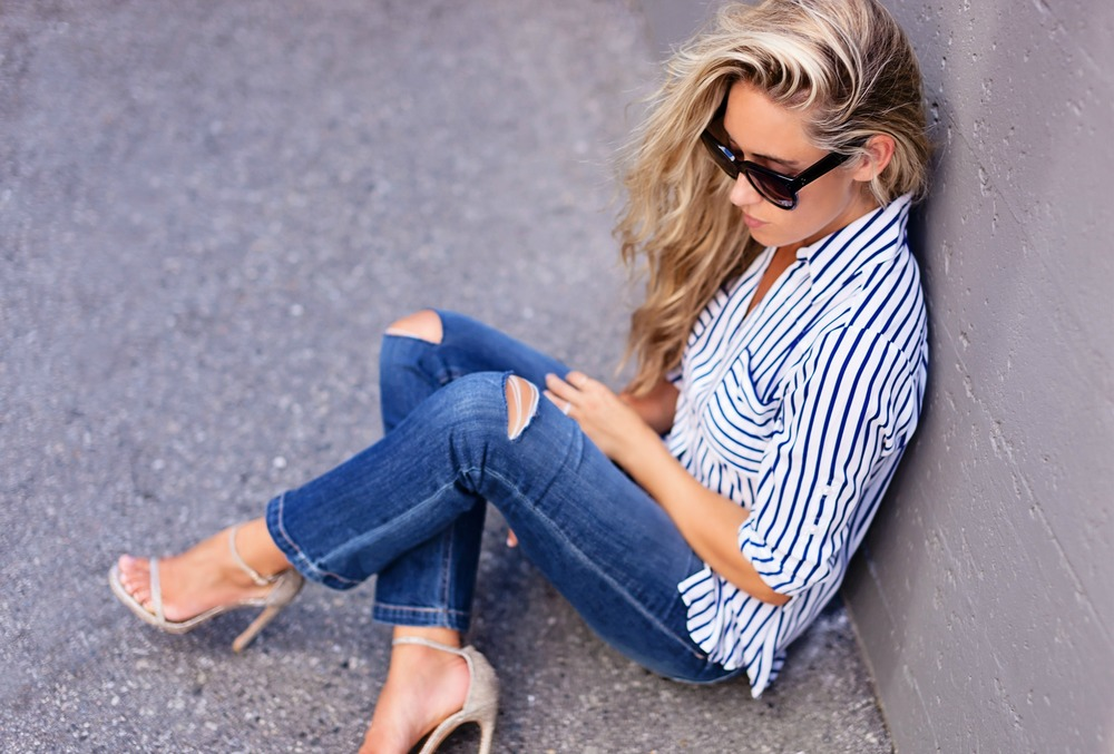 Photography by Allison Kuhl Express Shirt & Jeans Stuart Weitzman Heels, Chanel Bag, Céline Sunglasses