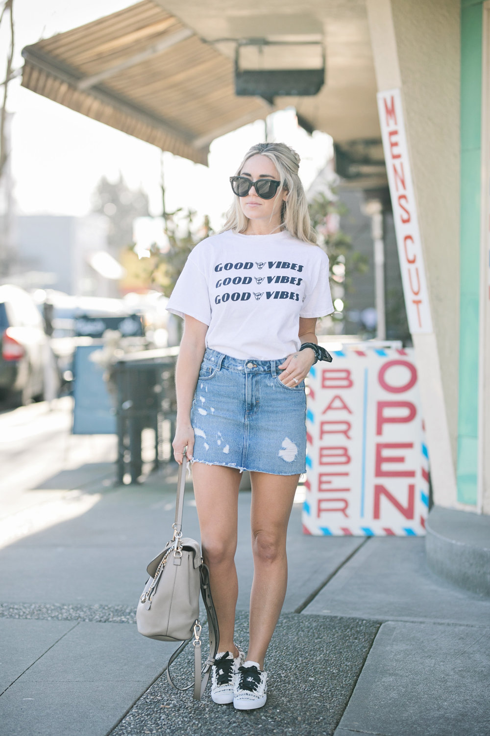 Photography by Allison Kuhl Brandy & Melville Top, Levi's Skirt, Jennifer Zeuner Earrings, Zara Shoes, Chloé Bag