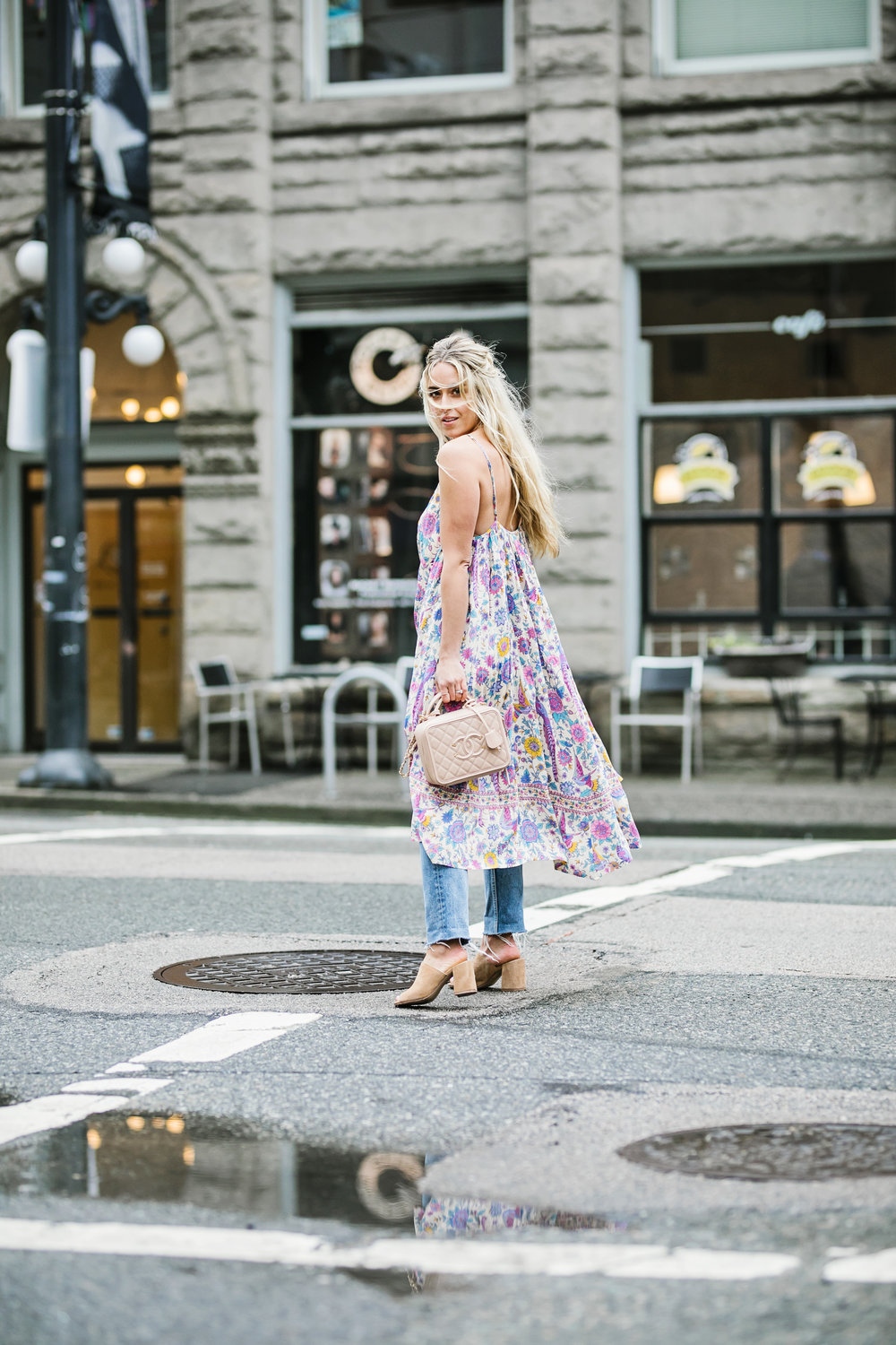 Photography by Allison Kuhl Spell & The Gypsy Collective Dress, Grlfrnd Jeans, Chanel Bag, Chinese Laundry Mules