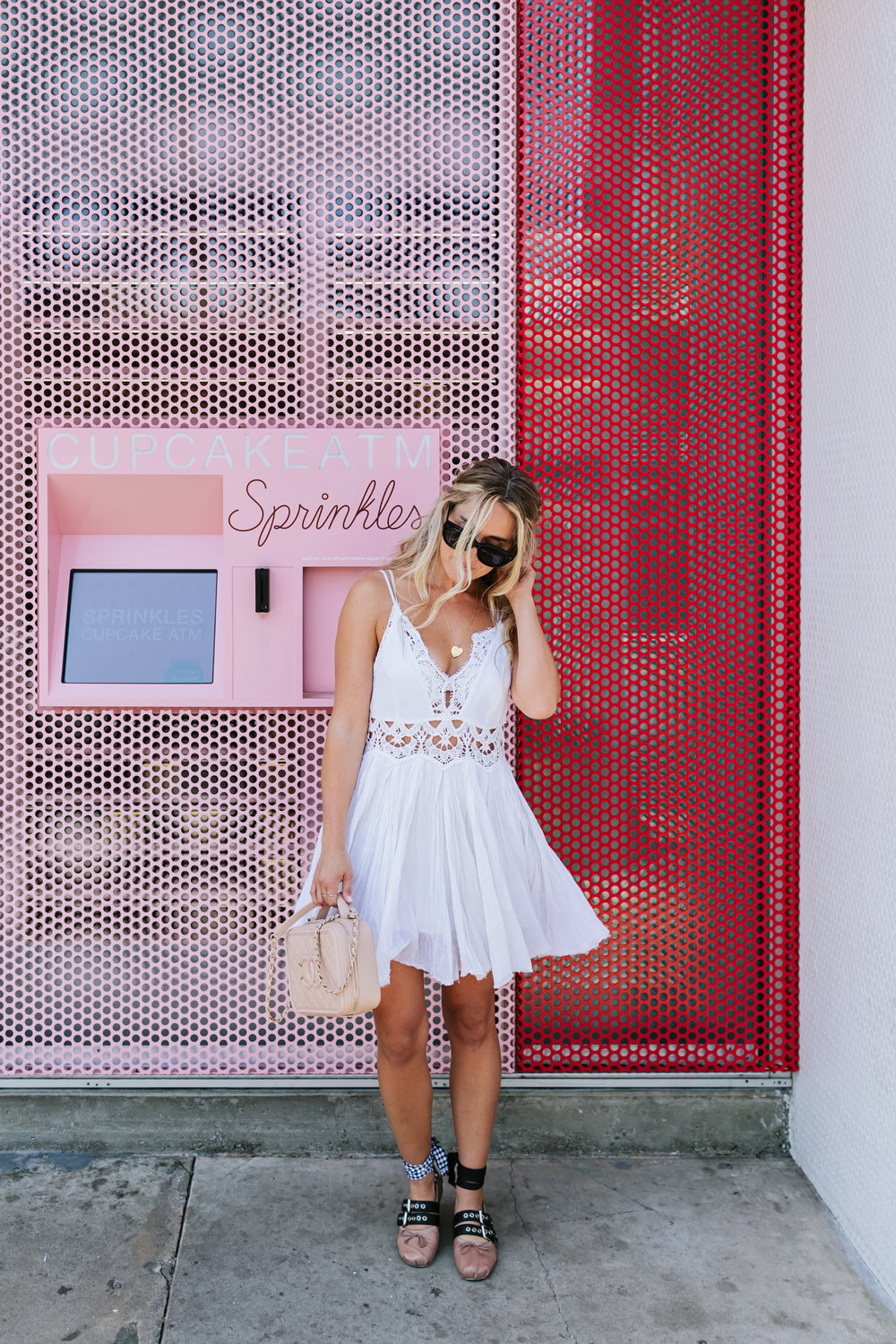Photos by  Allison Kuhl   Free People  Dress,  Miu Miu  Shoes, Céline Shades, Chanel Bag