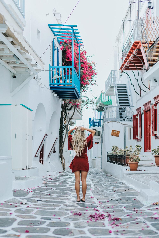 Photos by  Allison Kuhl   Faithfull The Brand  Top & Skirt Set |  CJxMA  Melanie Auld  Toggle Necklace ,  Endless  Necklace,  Floating Disk  Necklace | Faithfull The Brand  Top +  GRLFRND  Skirt from  Revolve  | Hermes Sandals