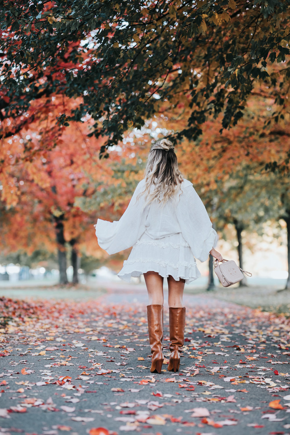 Photos by  Allison Kuhl  La Confection Dress |  Saint Laurent  Boots | Chanel Bag