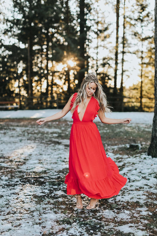 Photos by  Allison Kuhl   Majorelle  Dress via  Revolve ,  Alexandre Birman  Heels