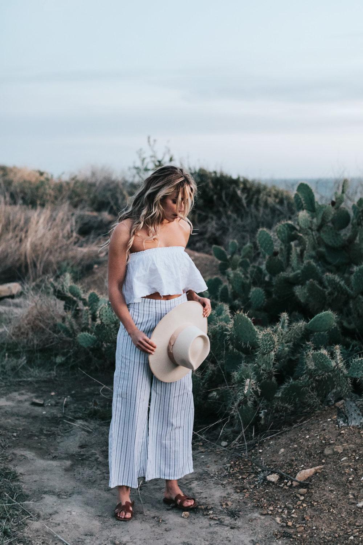 Photos by Allison Kuhl Faithfull The Brand Top & Pants,  CJxMA  Melanie Auld  Toggle Necklace , Lack of Colour Hat, Hermes Sandals