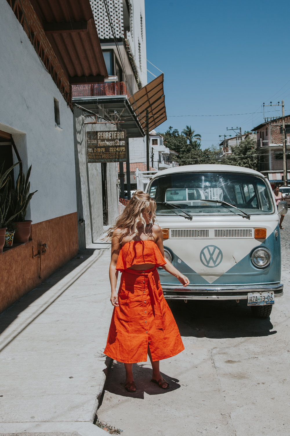 photos by  Paige Owen  Faithfull The Brand Top & Skirt, Hermes Sandals| Faithfull The Brand Top, Levi's Shorts, Chloe Backpack| Reformation Dress| For Love & Lemons Polka Dot Dress & Lemon Dress, both via  Finders Keep Hers Boutique |
