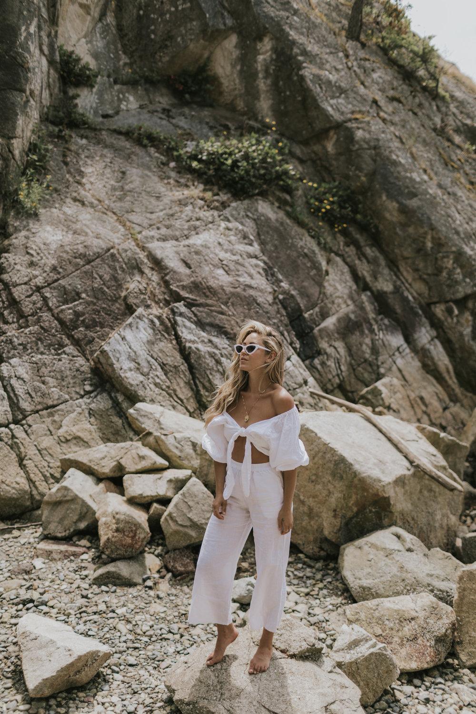 Ete  Bathing Suit | Lack Of Color Hat | Posse Top | Zara Shades |  Carrie Elizabeth Jewelry  Necklace Photos by Allison Kuhl