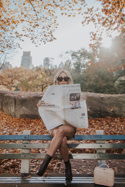 Photos by Paige Owen  Lulus  Jacket  &  Skirt   Celine Boots & Sunglasses Chanel Bag