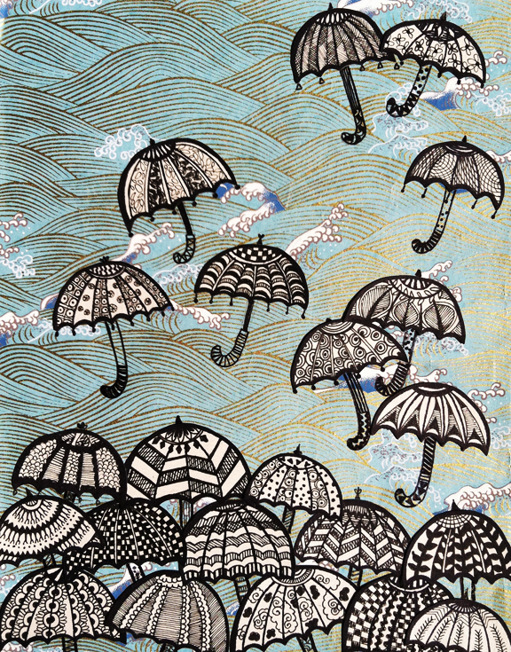 свои зонтики рисунок маркерами идеи оформления балкона