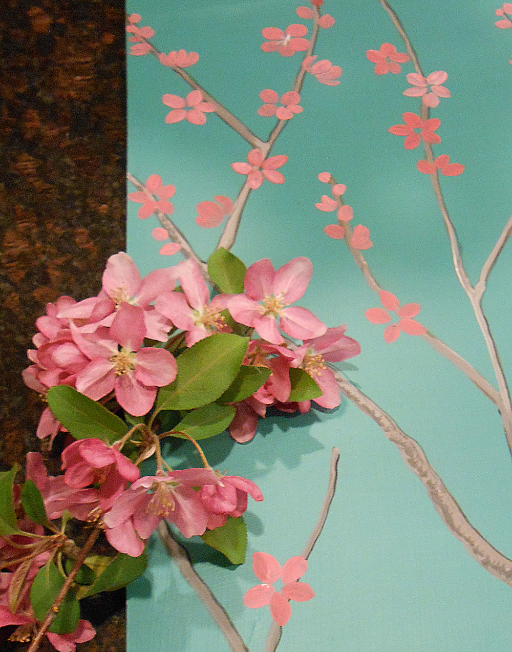 When I first start a painting, sometimes it just takes one thing to inspire me. In this case, it was two things. I got the idea from some great wallpaper that I saw in a magazine. Then, because it was early spring, I picked a branch from a beautiful blooming tree.