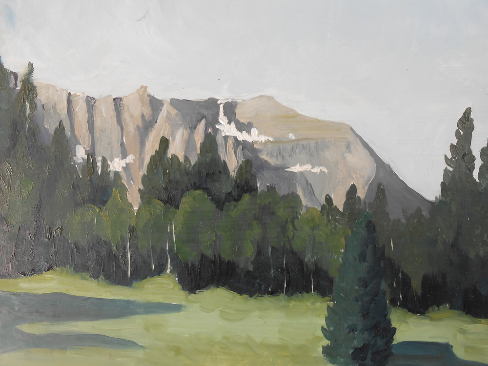 So, when I find myself in the mountains of Colorado on vacation, I always bring my oil paints and paint outside. This is Sheep Mountain right outside of Telluride. These paintings are finished in about an hour and a half.
