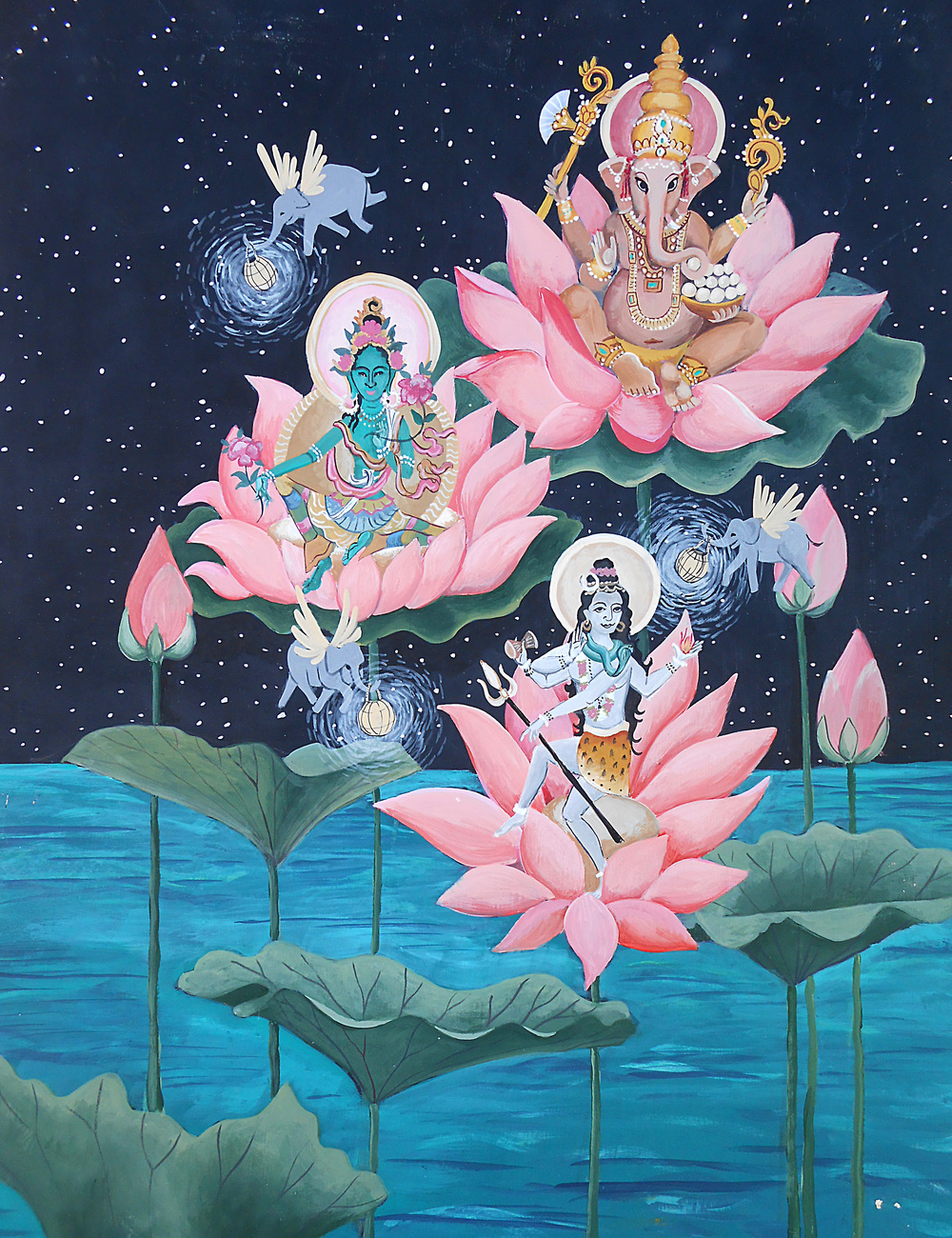 Here's an experimental painting of some buddhas having a celestial meeting on some lotus flowers. It was fun to paint Ganesh, Green tara, and Shiva all in one painting. My favorite part is the flying elephants with lanterns.