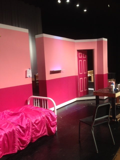 "Being a high school art teacher is never easy, especially when the administration asks you to paint the scenes for the musical. Never having been part of a big production, I had no idea how much work was involved. The crowning achievement was painting the facade of a two story sorority house for the OMG you guys scene in ""Legally Blonde""."