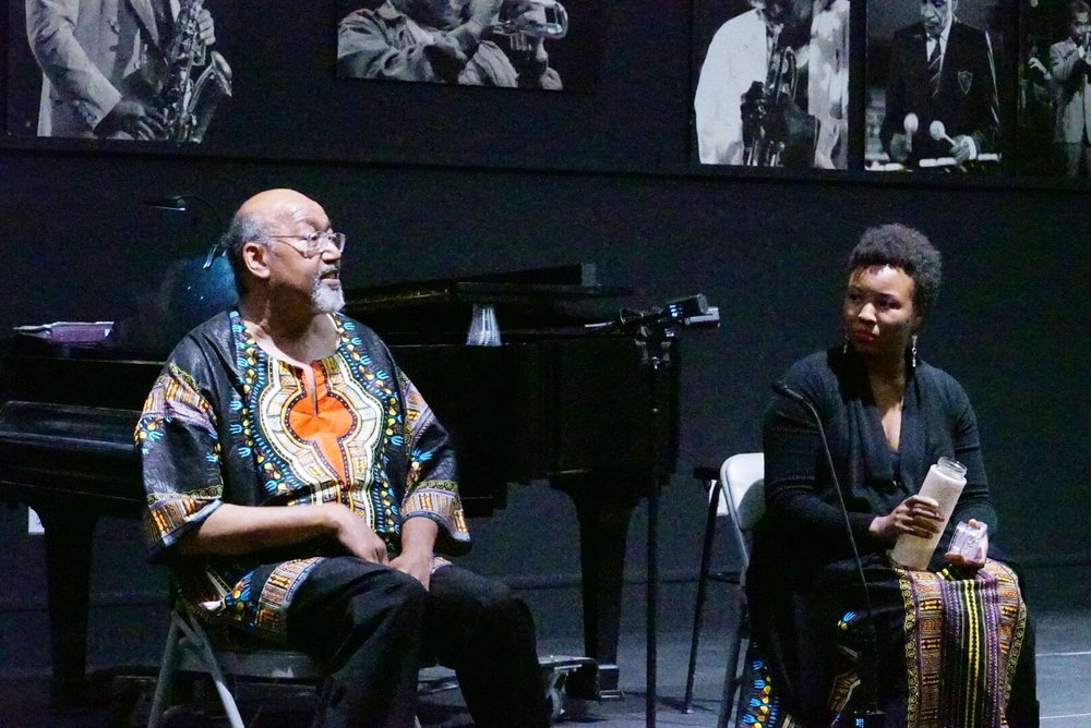 """I, Too, Sing America"" - Malesha Taylor, soprano and Richard Thompson, composer/pianist/professor pictured here during the post-talk of their recital premiere at Dizzys Jazz in San Diego, CA. This recital and talk feature Richard's art songs which are set to the poetry of Langston Hughes. See events page for the next booking of this event."