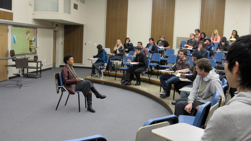 Malesha speaking at California Polytechnical University, Pomona to a Careers in Music class.
