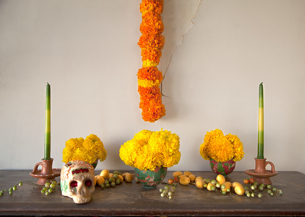 It's a little late but here is an image of the altar I made for Day of the Dead. The offerings (besides marigolds) are dates, tomatoes and of course a sugar skull!