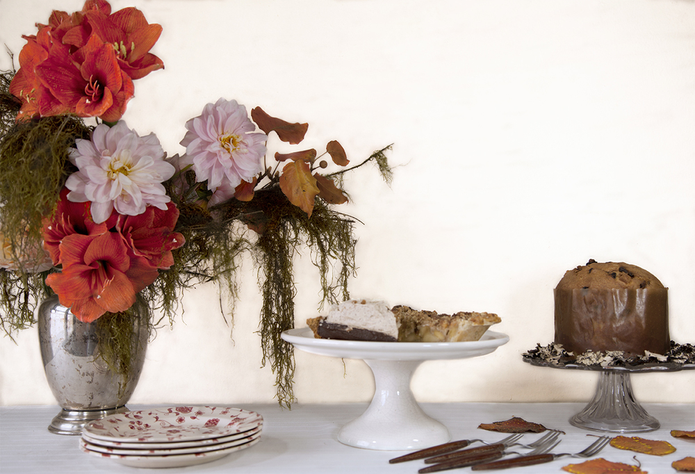 Southern Gothic is the mood of this desert table arrangement. No real reason to  be forlorn when chocolate and apple pie are so near by. Yet by the end of a Thanksgiving meal that happy/sad/full feeling is just in the air.