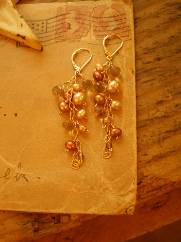 Champagne Earring  : 14k goldfill accented with lots of pearls & sparkly gemstones.