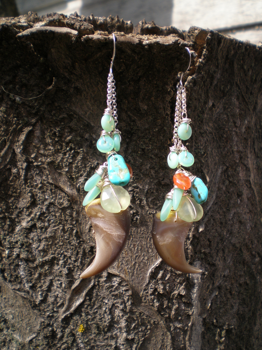 Kate's Bearclaw Earring  : Bearclaws accented with sterling silver, turquoise, prenite, coral & German glass.