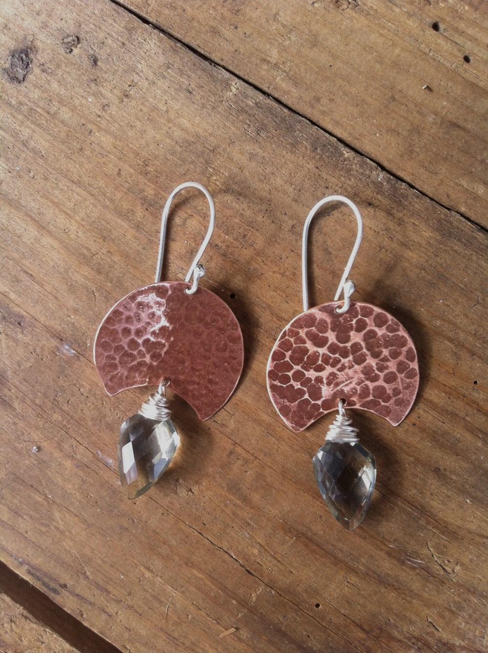 September Earring  : Copper sheild, sterling silver & smokey quartz.