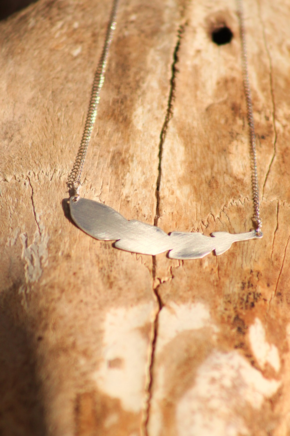 Light as a Feather Necklace  : Hand-cut sterling silver.