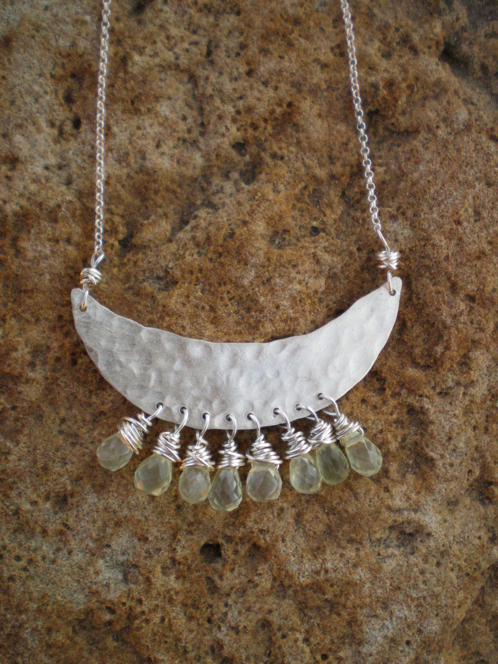 Crescent Necklace  : Sterling silver & prenite gemstones