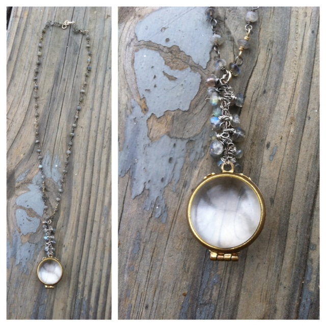 Up-cycled Necklace  : I LOVE finding something old and making it special and 'new' again. For example, this great vintage bubble locket sat on my workbench for years yearning for new life. This handmade labradorite, sterling silver & 14k gold fill chain was just what the doctor ordered! Have a keepsake or treasure you want to make special? Well, what are you waiting for?? Drop me a line.