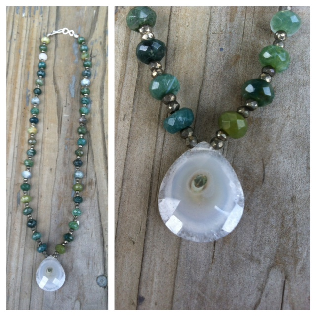 Beaded Necklace  : Agate pendant, moss agate, prenite & sterling silver clasp.