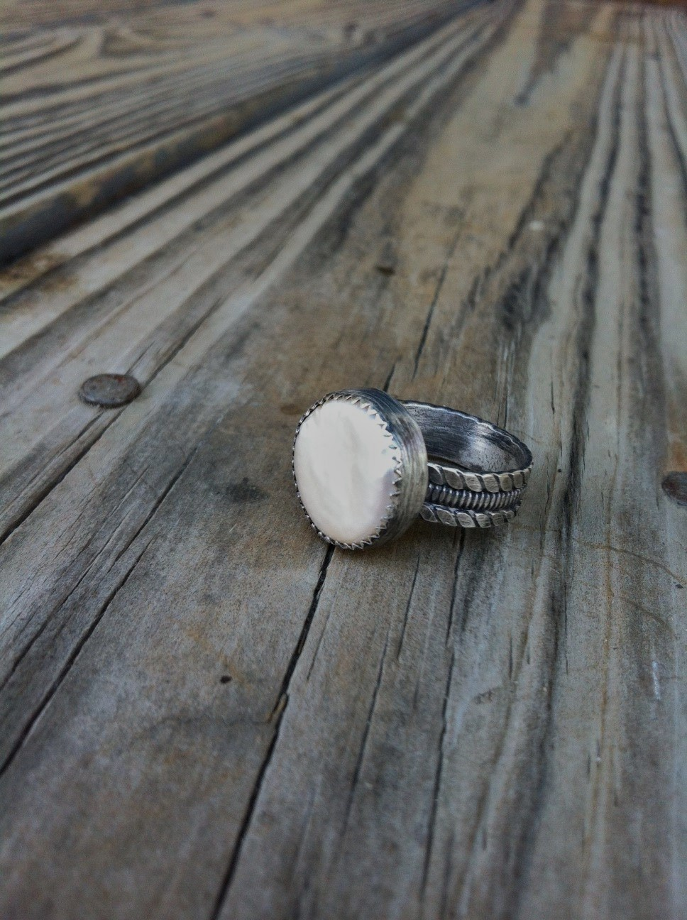 Pearl Ring  : I love using natural gemstones, shells, bone, vintage buttons. If you like this ring or if you are looking for wedding jewelry, check out my Bridal collection.