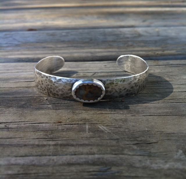 Silver Cuff Bracelet  : Sterling silver, hammered & oxidized (can be done in many different patterns or with many different textures). Then pick a stone or stones!
