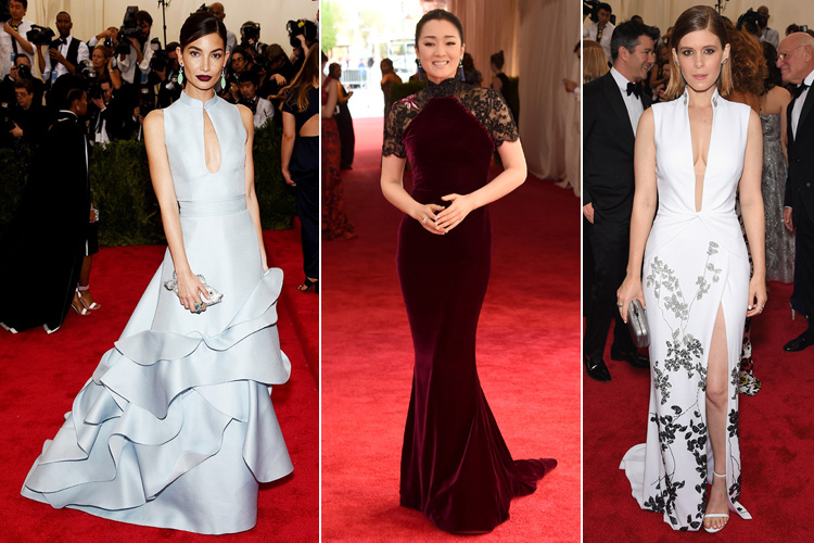 Lily Aldridge in Carolina Herrera Gong Li in Roberto Cavalli Kate Mara in DVF