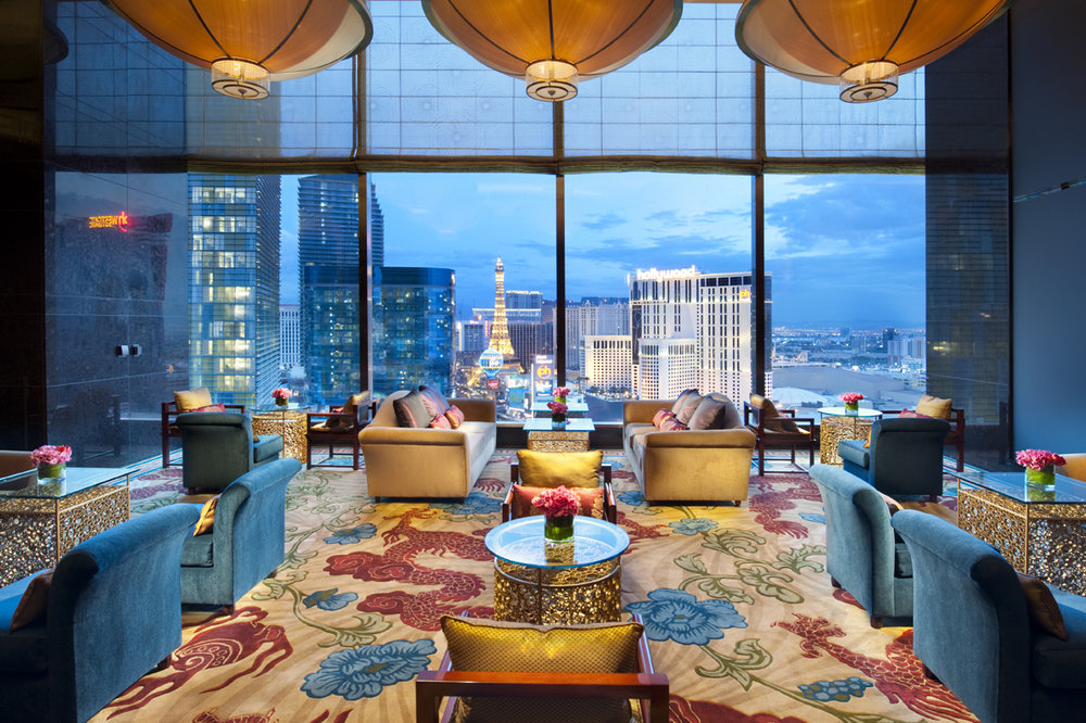 The tea room at Mandarin Oriental, Las Vegas next to the Sky Lobby. Cannot beat this view!