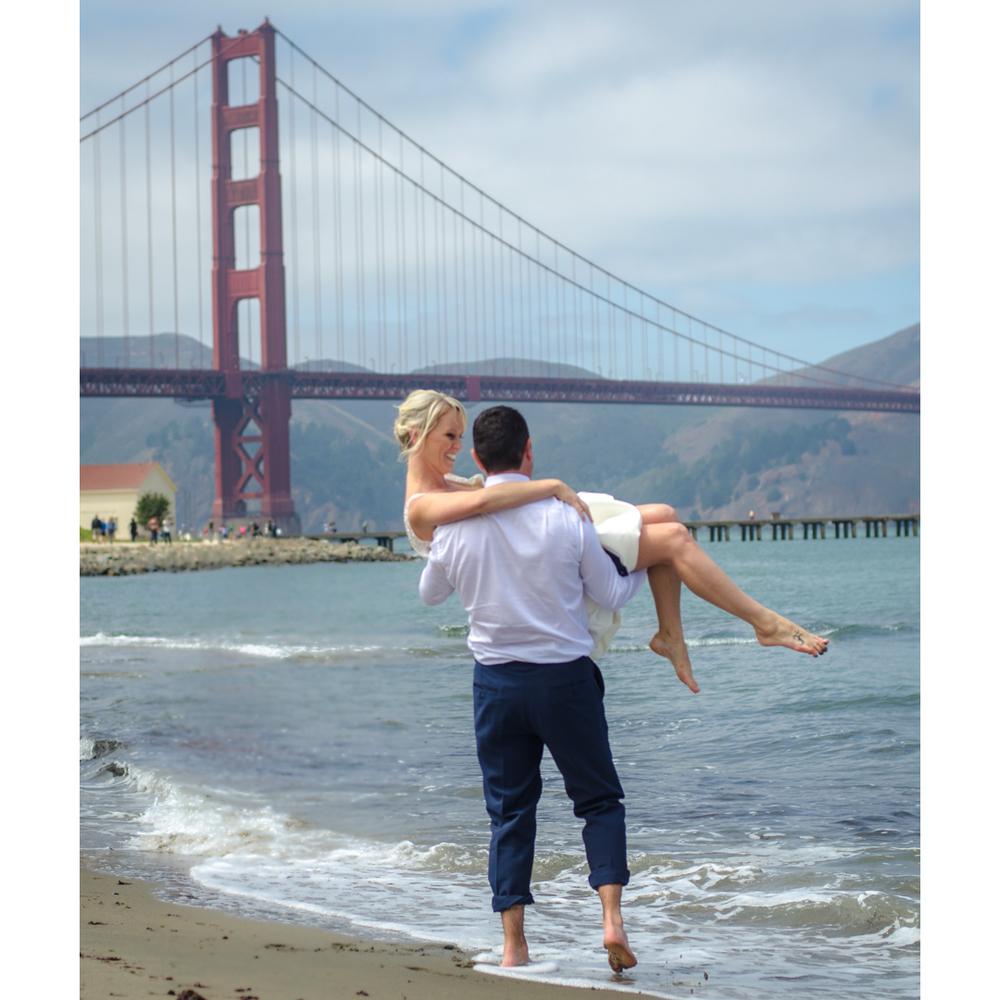 Eddy & Amy on Crissy Field, outside Golden Gate Bridge