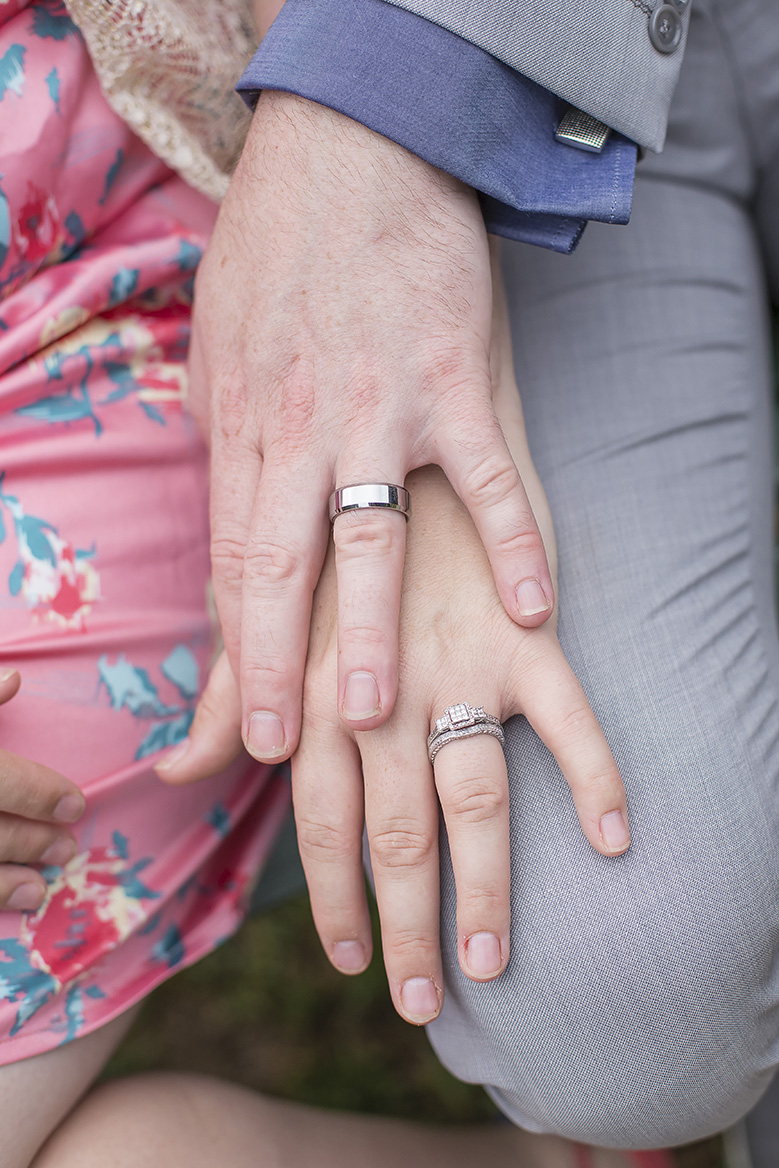 valentines day small backyard wedding hands portrait